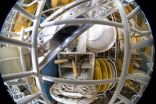 Inside the dishwasher
