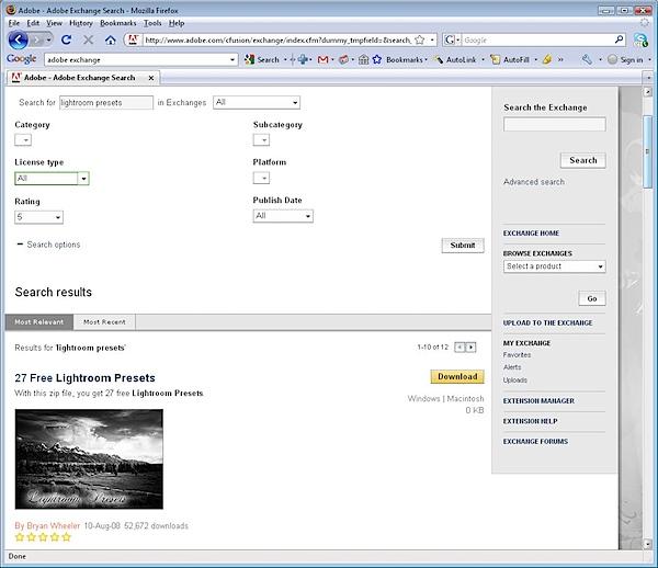 Adobe Exchange Lightroom Presets