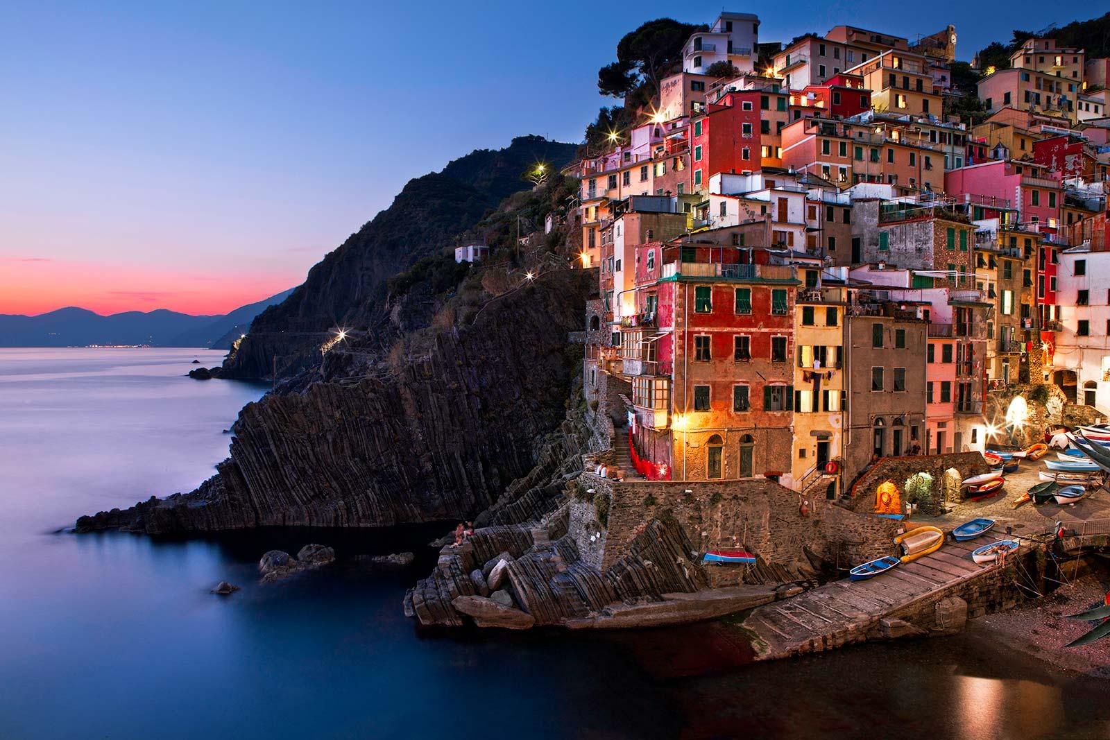 Riomaggiore Cinque Terre Italy at Dusk | James Brandon Photographer