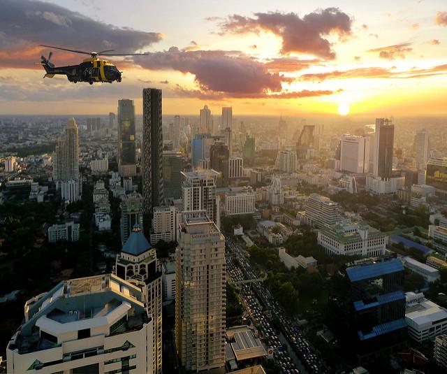 Navy Helicopter flying over Bangkok