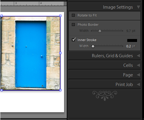 Lightroom print image with border 3