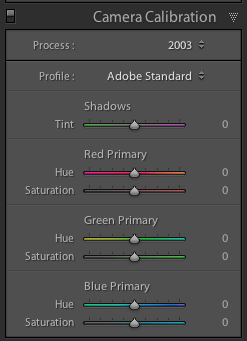 screenshot showing Lightroom Camera Calibration Settings