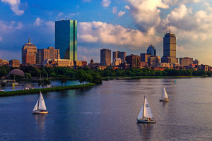 This is another image, taken the same month as the Lake Tahoe shot.  This was an exceptional shooting day for me.  I went into Boston in search of this spot, found parking, and was thrilled to see all the sailboats on the Charles River, making for an excellent foreground. I used every lens in my bag this day, getting salable shots with each- everything from a 14mm f/2.8 to the 70-200 f2.8L IS. This shot was taken with the EF 24-105 f/4L IS, at 47mm.  But due to the number of good shots captured that day, I just ignored it as being too blah.  Since I finally edited it, it has sold 5 times!.