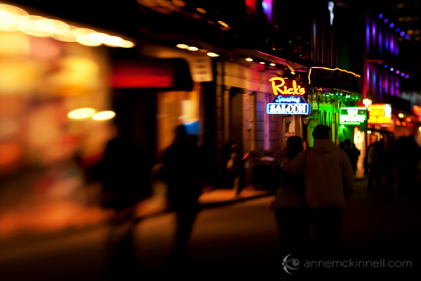 Bourbon Street, New Orleans during Mardi Gras captured with a Lensbaby.
