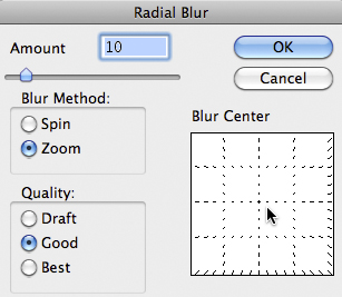 Photoshop Zoom Blur Filter Options