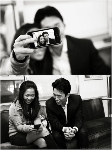 Cute couple taking a self portrait with a smart phone