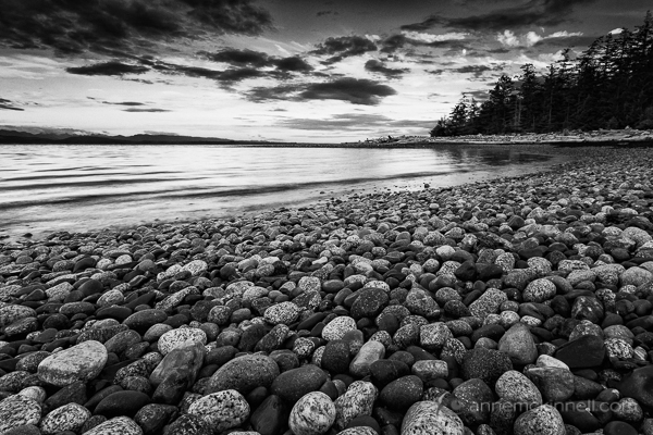 Rocks on the beach at Rebecca Spit, Quadra Island, British Columbia.