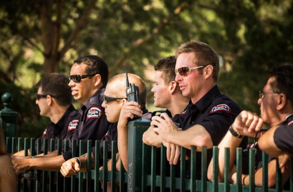Hmm, is it just me or are these firemen enjoying the parade just a little too much?!