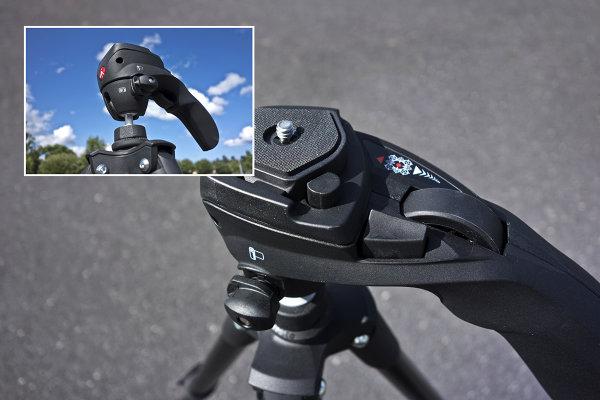 Pistol type movie/photo head showing the locking wheel