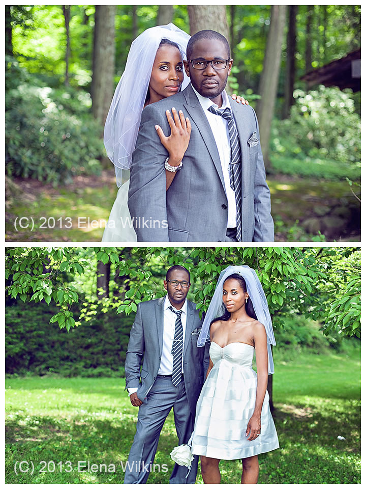 In these images I focused on my clients' faces, making sure not to blow out whites, so I would still get detail in the dress, the shirt and the veil in post processing. In post processing, I used Bridge/Camera Raw, I brought down highlights and whites, bumped shadows, and then finished magic in Photoshop, selectively processing areas of the images that needed extra attention.