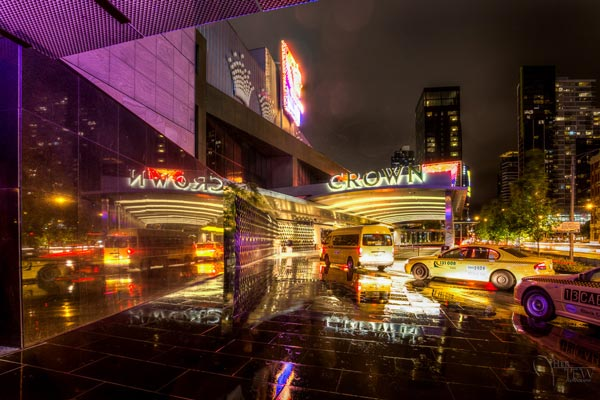 Photography of the Melbourne casino in the rain