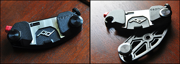 On the left, closed and locked. Sturdy-but-lightweight design makes sure Capture stays in place.