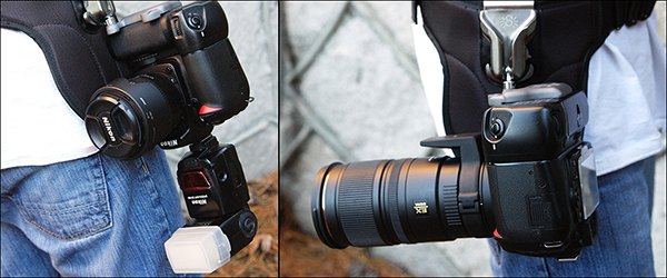 When loaded properly, the camera will hang upside down, with the lens pointing behind you. The holster offers a comfortable balance, regardless of whether you are using a flash or a 70-200mm lens.