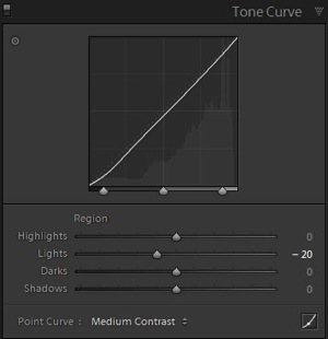 6b adjustments Tone curve panel
