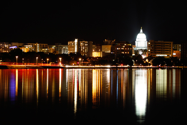city, urban, night, lighttrails, reflection, traffic