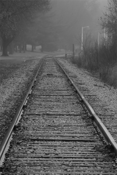 fog, foggy, morning, railroad, tracks, black and white, B&W