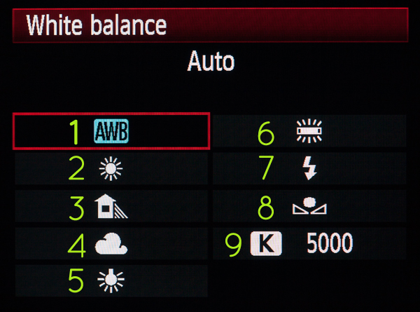 03White Balance Menu