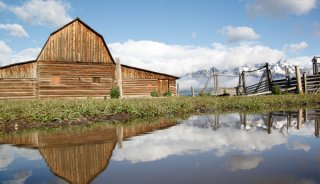 Grand Teton National Park, Tetons, Mormon Row, mountains, landscape, barn, reflection, puddle