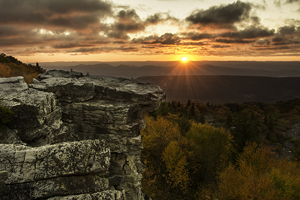 Final Image: Bear Rock, Dolly Sod Wilderness Area, West Virginia. Sunrise and Sunsets can present very challenging lighting to expose correctly for the entire scene.