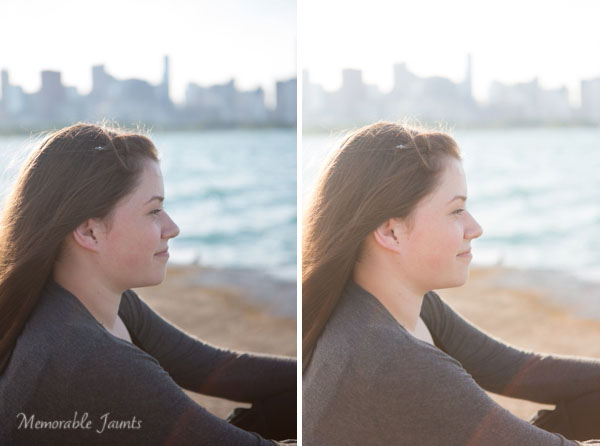 Left is SOOC; Right has Lens Correction, White Balance (Temp/Tint), Exposure and Contrast, Clarity and Highlights adjusted