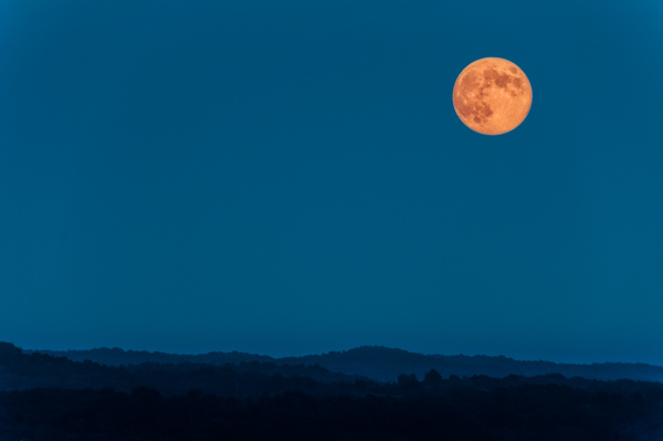 Don't just place the moon in an empty sky, including a foreground object will create a more dramatic image.
