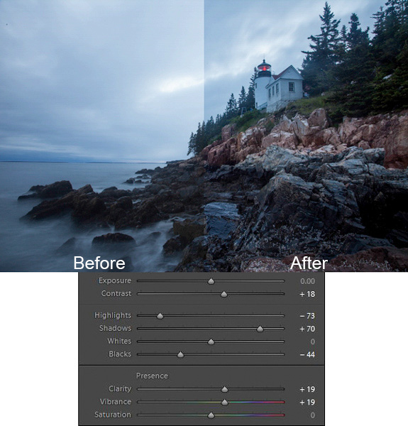 Bass Harbor photo with Lightroom adjustments