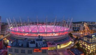 A six image photostitch of BC Place in Vancouver