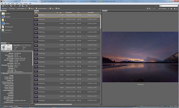 Adobe Bridge lets us quickly preview our star trails timelapse.