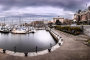 6 image Pano, Victoria Harbour on a snowy, windy day