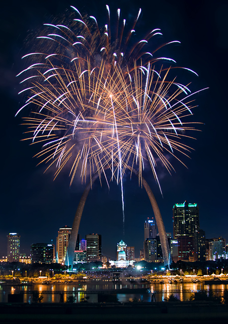 Great Subjects for Urban Night Photography - St. Louis fireworks example