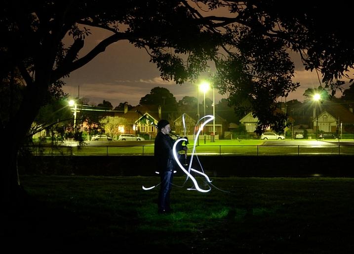 Light painting a portrait outdoors
