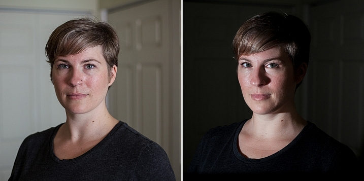 Left - No flash. Right - manual mode, underexposed several stops, single flash towards right of subject.