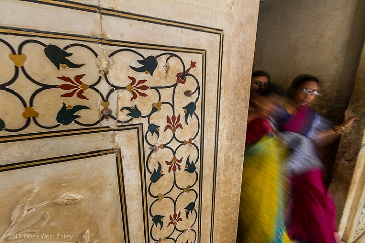 Inlaid Marble Detail Inside Taj Mahal, Agra, India, Asia