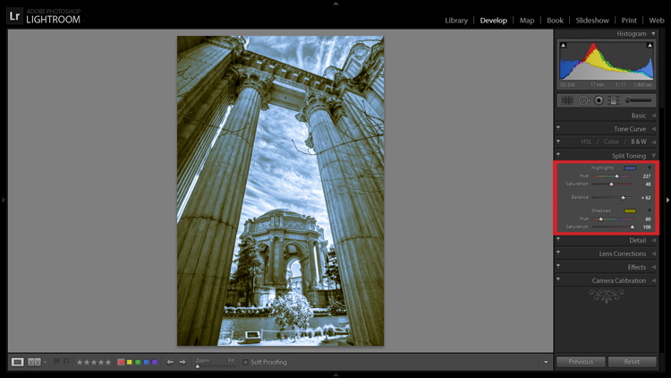 Split Toning allows you to tint an image's highlights and shadows different colors.