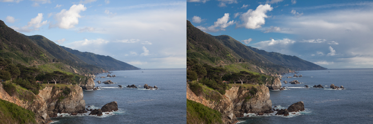Photo of Big Sur: Example of sky enhancement using Lightroom