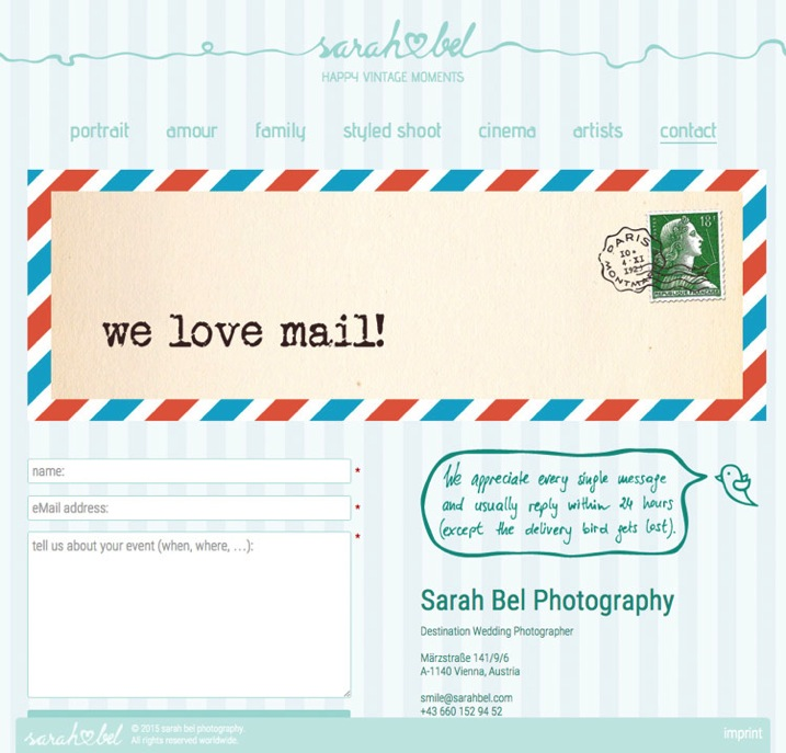 2 example of good website put your email address next to the contact form and let your client decide www sarahbel com