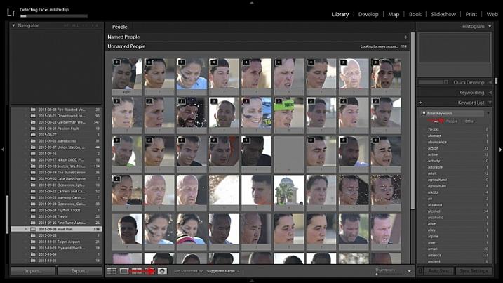 Lightroom's facial recognition feature