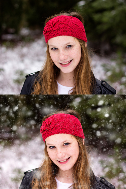 Original image on top, final image edited with PPA Winter Wonderland on the bottom.