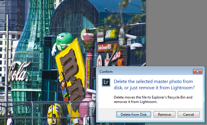 What happens when you select to Delete from Disk in Lightroom