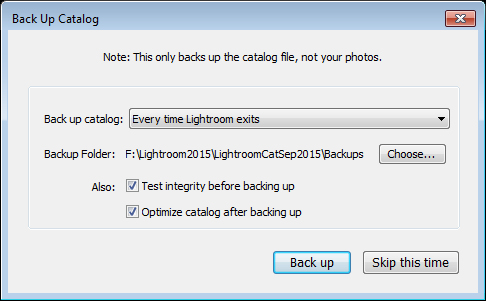 Does Lightroom backup your photos when you select to Backup?