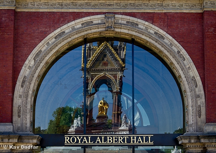 I have seen the Albert Memorial in London hundreds of times, but have rarely seen it reflected in the glass panels of Albert Hall.
