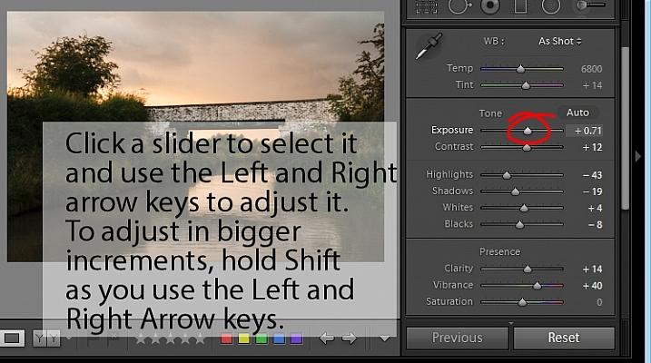 adjust Lightroom sliders using the arrow keys
