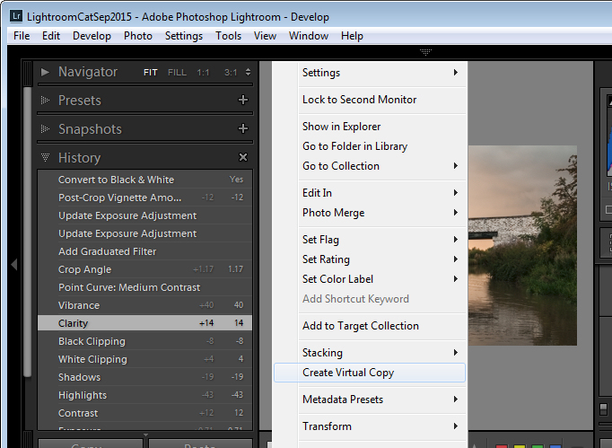 make a virtual copy from a partially edited image in Lightroom