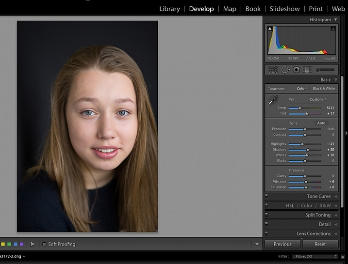 Image showing basic portrait editing in Lightroom