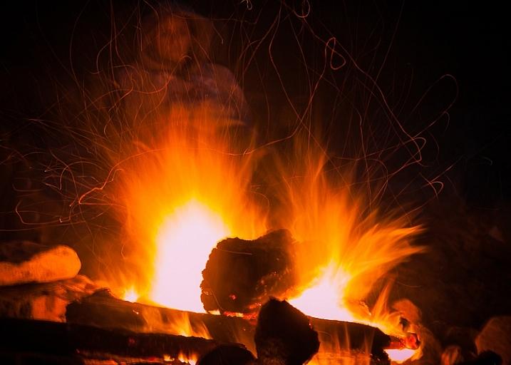 long exposure bonfire