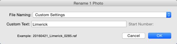 File naming in lightroom 15