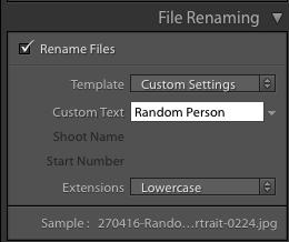 File naming in lightroom 2