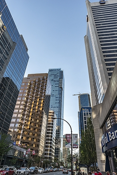 Tall buildings distort easily with a wide angle lens
