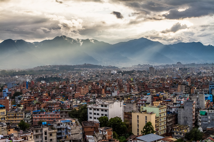 Sun rays wash over Kathmandu, Nepal (HDR by Peter West Carey)