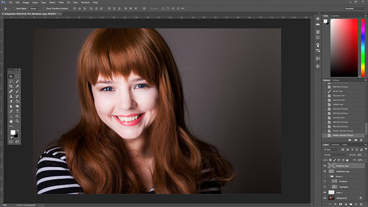 How to Enhance Portraits Using Gray Layers to Dodge and Burn in Photoshop 6